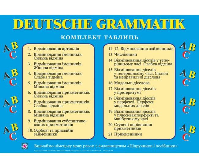 Комплект таблиц: Грамматика немецкого языка - Издательство Пiдручники i посiбники - ISBN 2255555500163