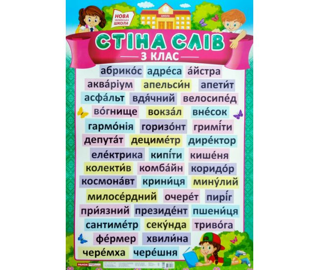 НУШ. Стена слов 3 класс. Плакат школьный - Издательство Ранок - ISBN 123-15104149У
