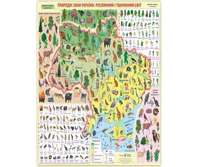 Плакат школьный: Природные зоны Украины. Растительный и животный мир - Издательство Пiдручники i посiбники - ISBN 2255555501283