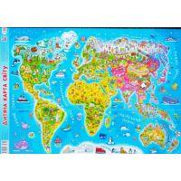 Плакат школьный: Детская карта мира А1
