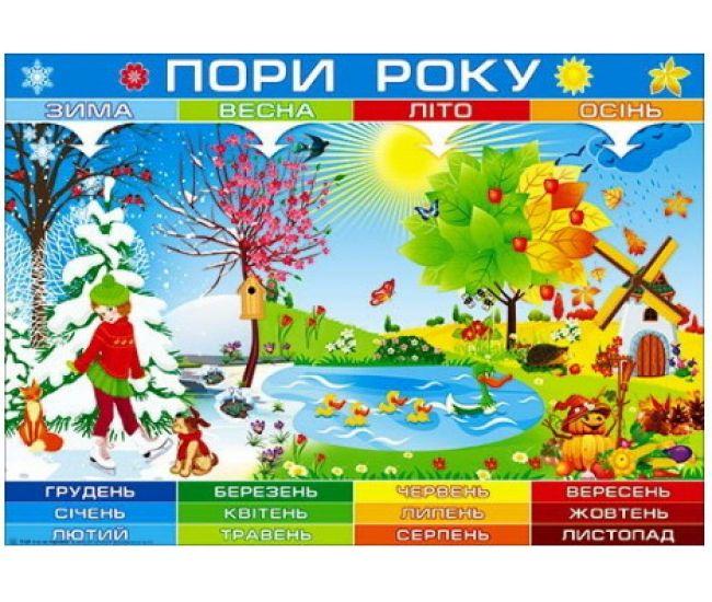 Плакат школьный: Времена года - Издательство Свiт поздоровлень - ISBN 1330043