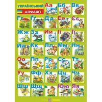 Плакат школьный Пiдручники i посiбники Украинский алфавит Печатные и прописные буквы  (ф.А4)