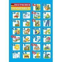 Плакат школьный Пiдручники i посiбники Немецкий алфавит Печатные букви (ф.А2)