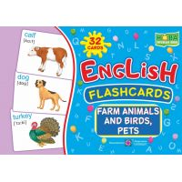 Комплект карточек. English: flashcards. Farm animals, birds and pets