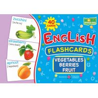 Комплект карточек. English: flashcards. Vegetables, berrieds, fruit