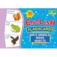Комплект карточек. English: flashcards. Wild animals, birds, insects