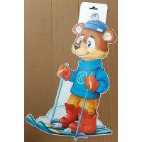 Фигурный плакат Мишка-лыжник