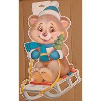 Фигурный плакат Мишка на санках