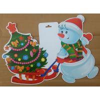 Фигурный плакат Снеговик и ёлка