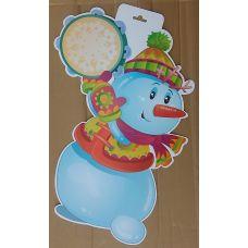 Фигурный плакат Снеговик с бубном