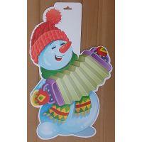 Фигурный плакат Снеговик с гармошкой