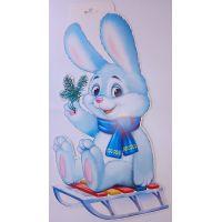 Плакат детский Зайчик на санках