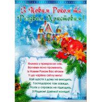Плакат школьный: С Новым годом и Рождеством Христовым!