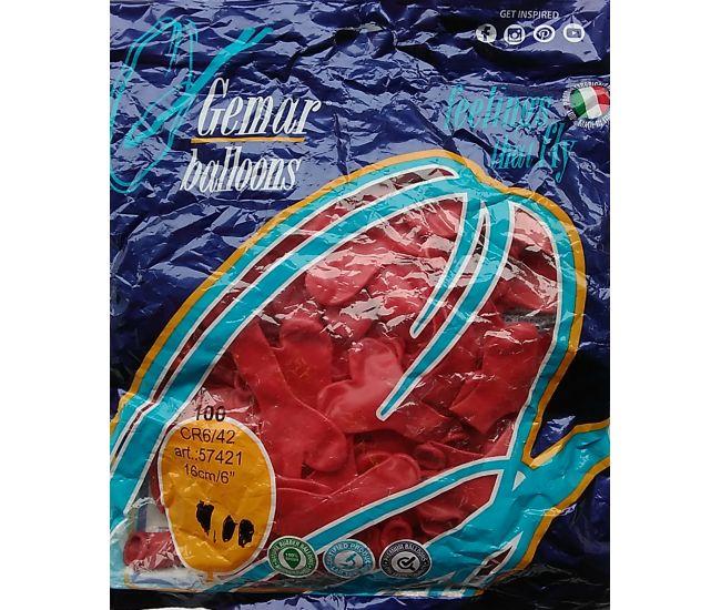 Воздушные шарики 16 см. Сердца красные (пастель)
