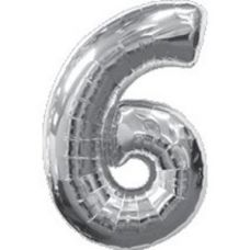 Шар фольгированный серебро. Цифра 6