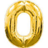 Шар фольгированный золото. Цифра 0