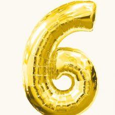 Шар фольгированный золото. Цифра 6