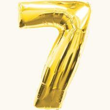 Шар фольгированный золото. Цифра 7