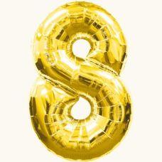 Шар фольгированный золото. Цифра 8
