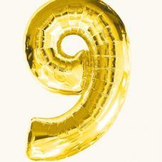 Шар фольгированный золото. Цифра 9
