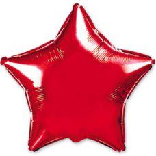 Шар фольгированный звезда красный