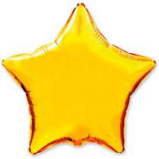 Шар фольгированный звезда золото