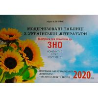 Материалы для подготовки к ЗНО 2020 Ивано-Франковск Модернизированные таблицы по украинской литературе