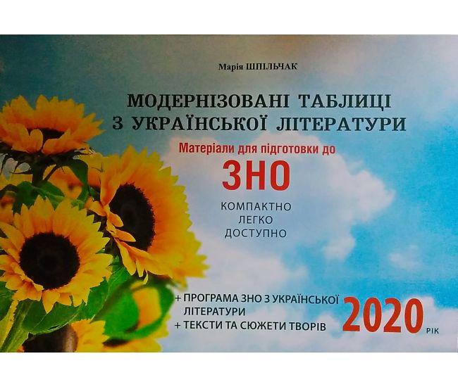 Модернизированные таблицы по украинской литературе. Материалы для подготовки к ЗНО 2020 - Издательство Шпильчак Мария - ISBN 978-966-286-158-7