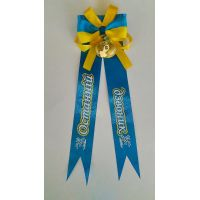 Колокольчик с ленточкой: Последний звонок (атлас желто-голубой)